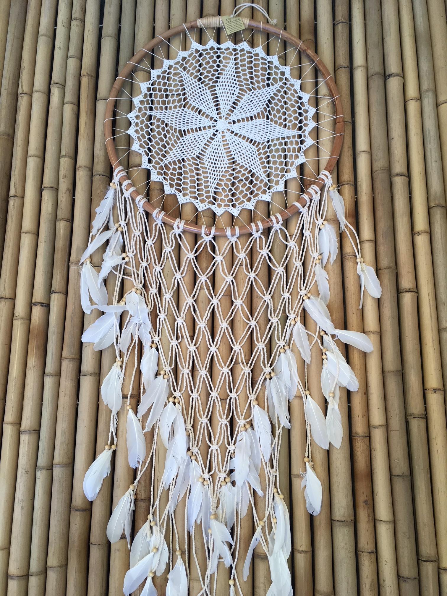 Boho Crochet Dreamcatcher Cane Net Feathers Balikarma Online Shop