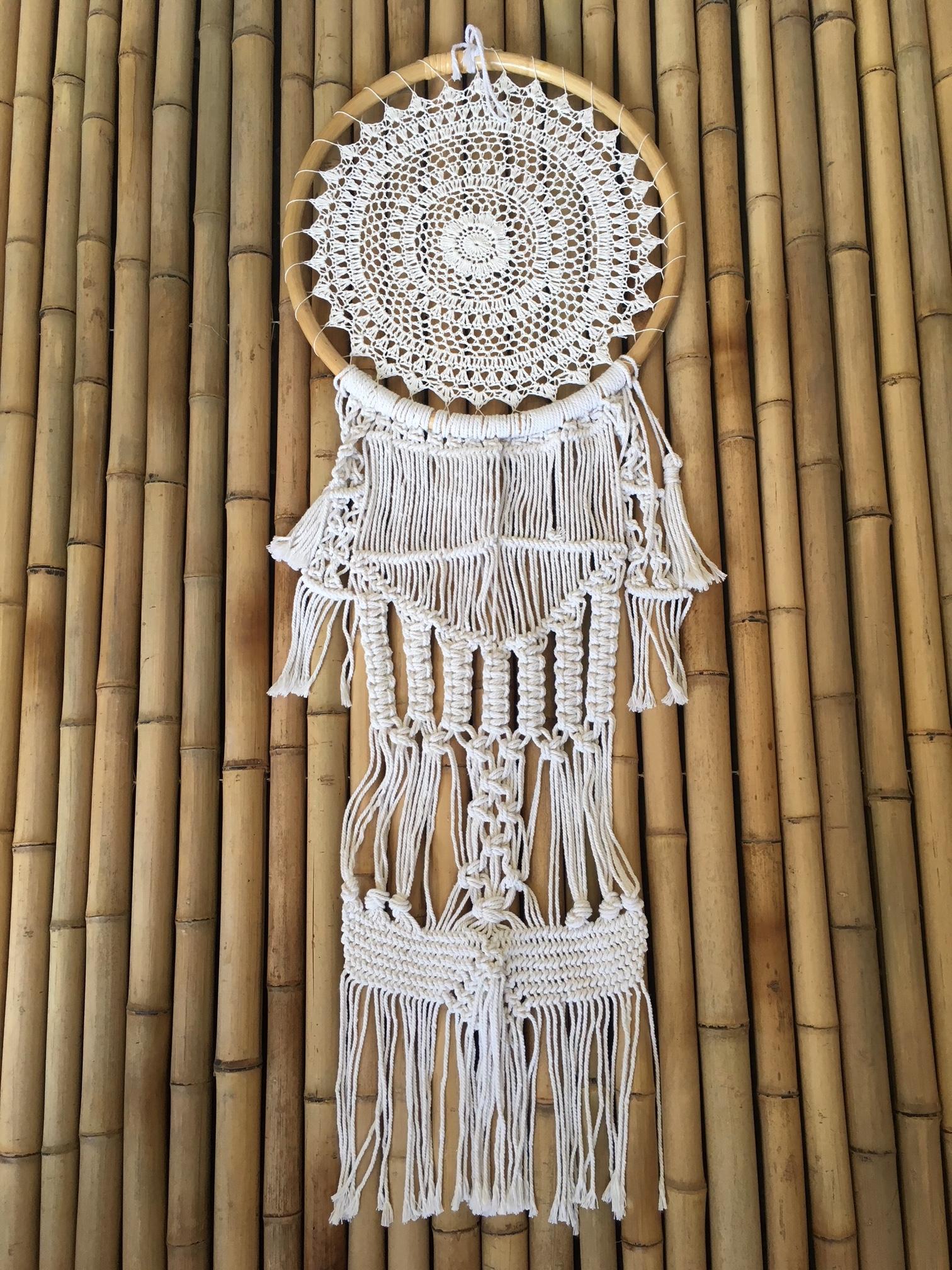 Boho Crochet Dreamcatcher Cane With Macrame Knotted Fringe