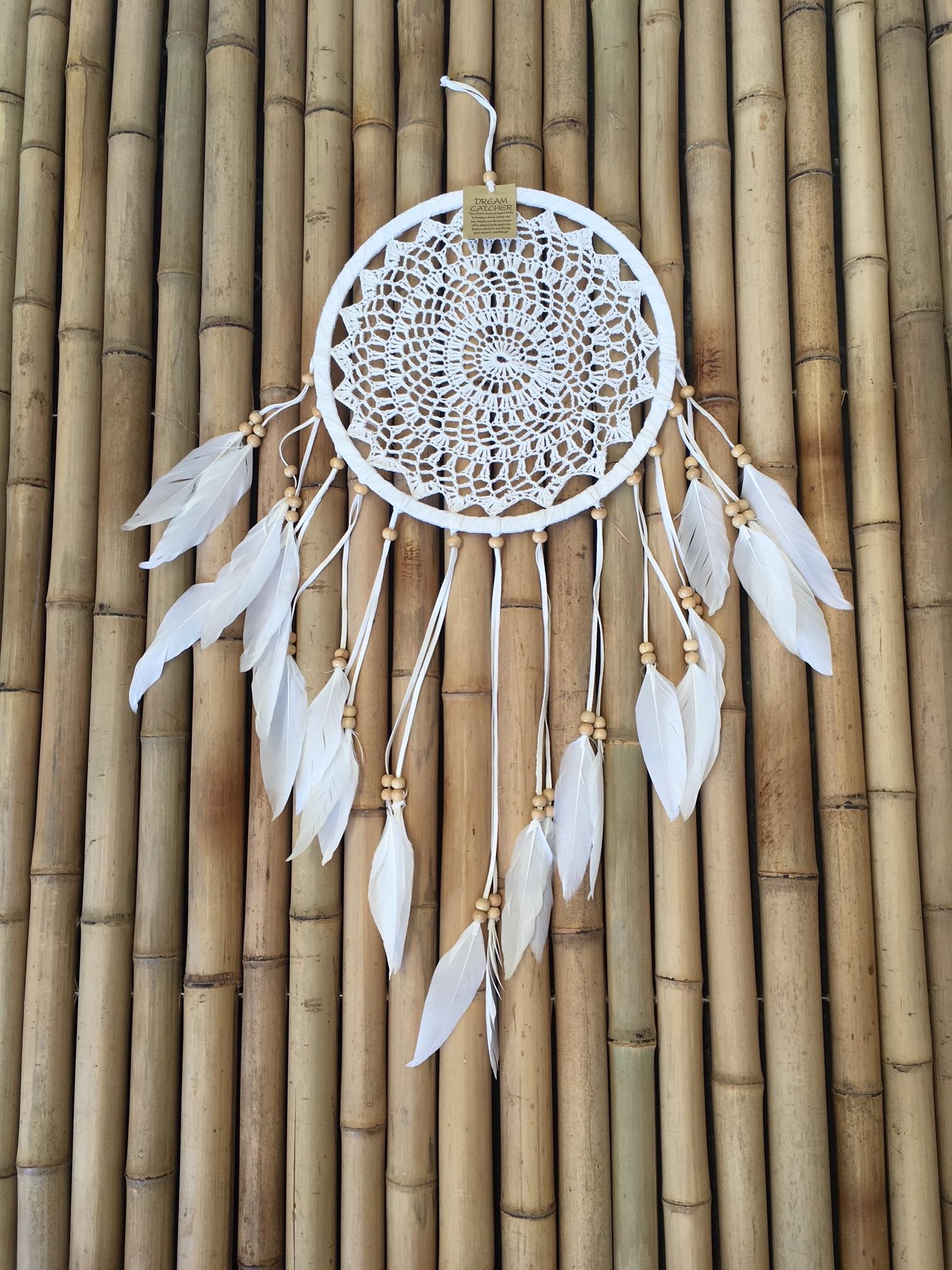 Boho Crochet Dreamcatcher White Suede With Feathers Balikarma
