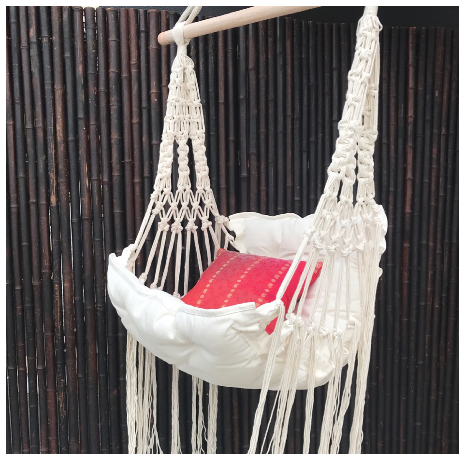 Cream Macrame Hanging Chair With Calico Cushion